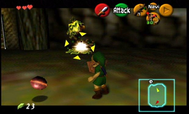 Link expectedly defeats a Deku Scrub.