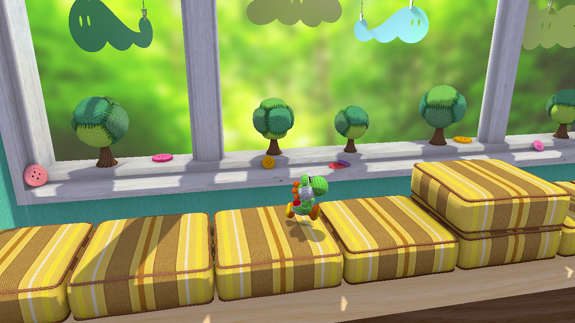 Yoshi running about what appears to be a child's bedroom.