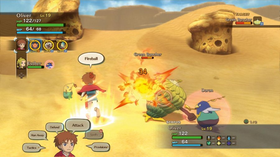 Combat in Ni No Kuni.