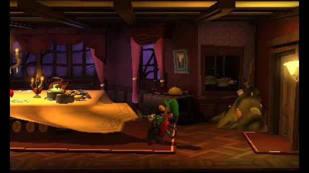 Luigi vacuuming a tablecloth.