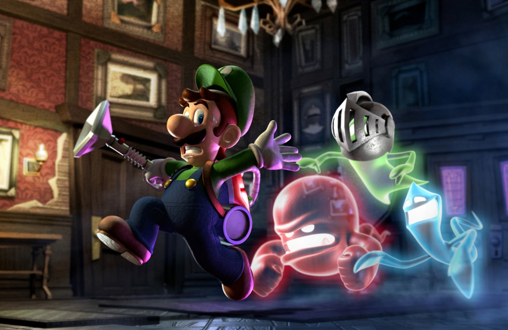 Luigi escaping some ghosts.
