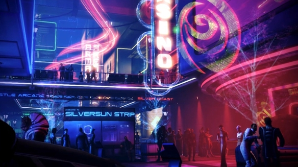 Mass Effect 3's Silversun Strip in its DLC: Citadel.